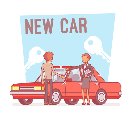 Man buying a new car with two keys on background. Vector illustration.