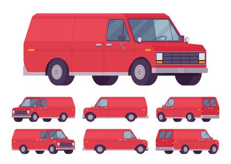 Red van set on white background, vector illustration. Çizim