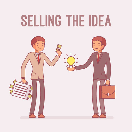 Selling the idea. Potential rich buyer and creative man making a deal about new innovative product and technology, sold invention or solution for startup. Vector business concept line art illustration Ilustração