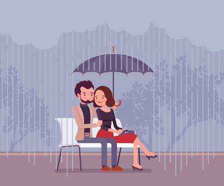 Couple in love under umbrella. Happy lovers sitting on bench feeling safe, secure from rain, together against danger of bad weather, common trust and believe. Vector flat style cartoon illustration