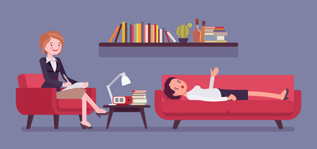 Female psychiatrist consulting. Medical practitioner treating patient on behavioral, mental health problems, office. Specialist to help with emotional disorders. Vector flat style cartoon illustration Vettoriali