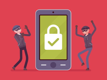 Smartphone under reliable protection. Two thefts unable to unblock a phone, protecting mobile device from malware threats. Mobile security. Vector flat style cartoon illustration on red background Ilustração