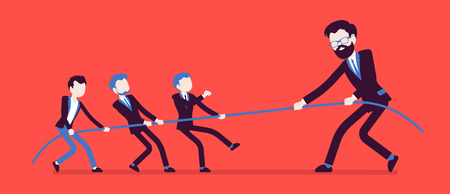 Tug of war, men vs giant. Individuals and company struggle to get power and control on market, monopolist discriminating competitive firm. Vector business concept illustration with faceless characters