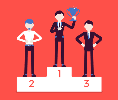 Pedestal of honor and happy men. Young businessmen on place of superiority, chosen at position of great esteem, proud competition winners. Vector business concept illustration with faceless characters