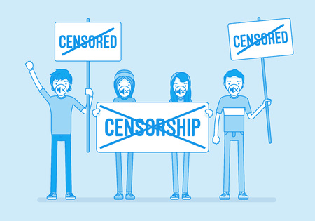 No censorship demonstration. Young people gathering expressing disagreement, disapproval, and opposition of suppression and prohibition, together with posters. Vector line art illustration
