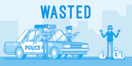 Wasted  - caught by the police. Vector line art illustration
