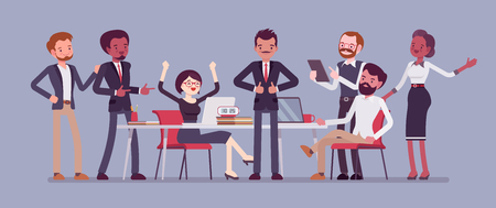 Successful team gathering Vector illustration.