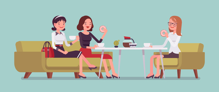 Girls sitting in a cafe Vector illustration.