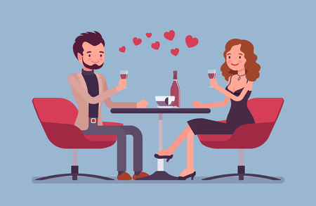 Couple on a romantic date. Young man and woman, pair in love having dinner, meeting of two close loving people in romantic relationships in cafe. Vector flat style cartoon illustration