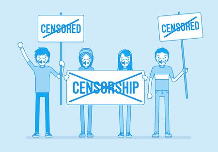 No censorship demonstration Vektorové ilustrace