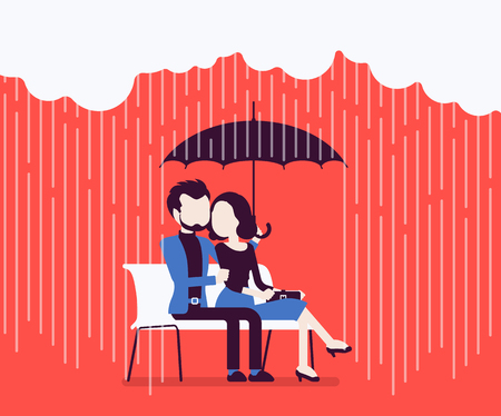 Couple in love under umbrella Illustration