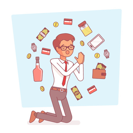 Pray for simple desires. Young poor man on knees asking for help to get food, goods, money to satisfy strongly wish or hope for everyday needs. Vector business concept line art illustration