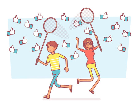Thumb up net catching. Young people trying to get more symbols of approval, signs of internet audience encouragement for social media profile. Vector business concept line art illustration 일러스트