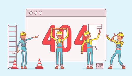 제작중인 404 코드 페이지. 서버와 오류 메시지 연결로 웹 사이트를 복구하는 유니폼을 입은 근로자는 요청한 파일을 찾을 수 없습니다. 벡터 라인 아트 일러스트