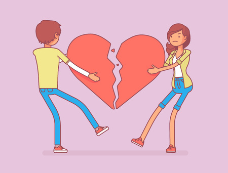Lovers broken heart. Young man, woman pulled apart causing each other feel great sorrow, couple in disagreement at end of friendly relations after angry dispute. Vector line art illustration Illustration