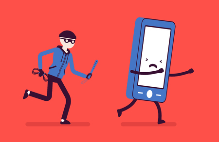 Phone theft attack Vector illustration.