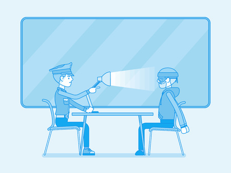 Interrogation with lamp. Policeman questioning the criminal, using light techniques, man arrested or suspected asked, interviewing by police. Vector line art illustration