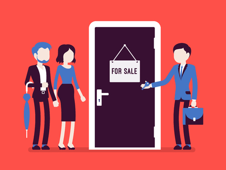 New apartment selling. Man from the estate agency or residential consultancy giving a key from a new flat to a young happy pair, welcomes to open the door. Vector illustration with faceless characters