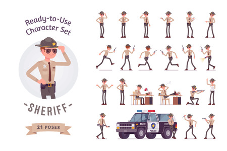 Sheriff ready-to-use character set. Chief executive officer wearing official uniform with safety devices, full length, different views, gestures, emotions, front and rear view. Law, justice concept