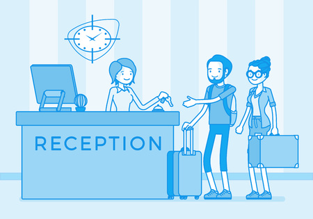 Tourists at reception in a hotel Vector illustration. Vettoriali