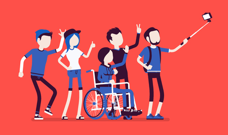 Group selfie and young people. Self-portrait photograph taken with phone stick camera, girl with special needs and friends, inclusion concept. Vector illustration with faceless characters Vettoriali