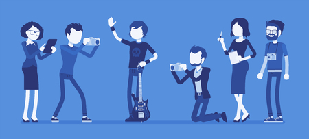Famous rockstar and journalists. Young celebrated male pop musician, a singer with guitar, newspaper or magazine men photographing him, gathering news. Vector illustration with faceless characters