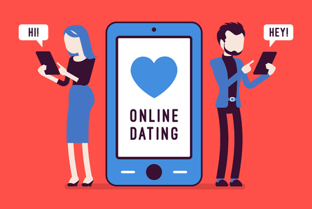 Online dating chat. Young man and woman starting a romantic relationship on internet, searching for partner online, arrange meeting. Vector illustration with faceless characters
