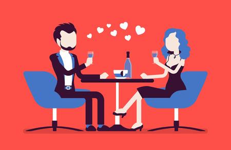 Casal em um encontro romântico. Homem novo e mulher, par no amor que janta, reunião de dois povos loving próximos em relacionamentos românticos no café. Vetorial, ilustração, com, sem rosto, caráteres