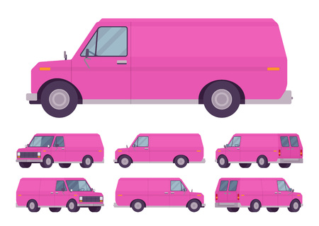 Pink van set. Road vehicle for transporting goods, medium-sized motor delivery truck for commercial service and business needs.