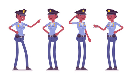 Young policewoman, female member of a police force happy to carry out duties, physically fit, professional skill set.