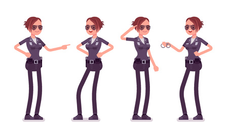 Young happy policewoman. Vettoriali