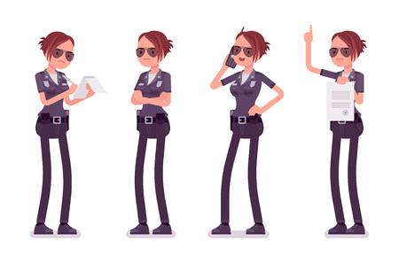 Jeune policière occupée.