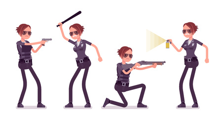 Young policewoman at attack and defense. Illustration