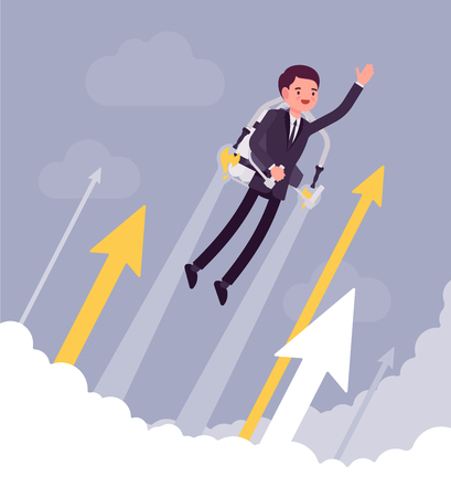 Jetpack businessman flight. Young happy man with backpack device, got a push into the air to success, flying up to profit, achieving of results. Vector business concept flat style cartoon illustration