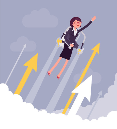 Jetpack businesswoman flight. Young happy woman with backpack device, got a push into air to success, flying up to profit, achieving of results. Vector business concept flat style cartoon illustration