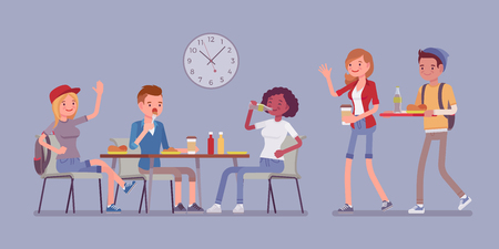 Lunch in dining room. Group of people have their meals and drink at table, meeting friends, students having a break. Vector flat style cartoon illustration isolated on white background