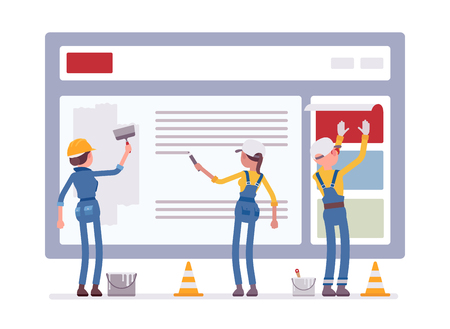 Website under construction. Workers in uniform recovering web site with error message connection, file is not found information. Vector flat style cartoon illustration isolated on white background Vettoriali