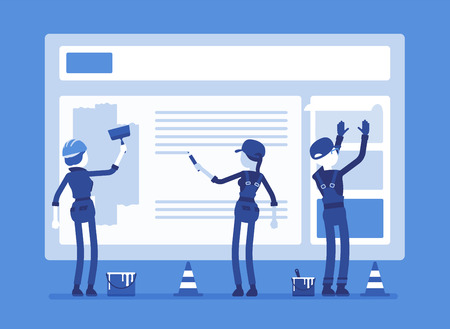 건설중인 웹 사이트. 오류 메시지 연결을 사용 하여 웹 사이트를 복구하는 균일 한 노동자.