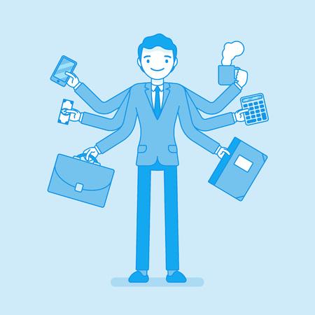 Multitask businessman at work Illusztráció