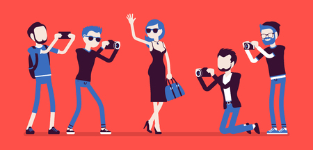 Celebrity and journalists. Young female elegant star, famous well-known person, newspaper or magazine men photographing her, mass media gathering hot news. Vector illustration with faceless characters