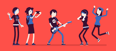 Famous rockstar and fans crazy about him. Young celebrated male pop musician, well-known singer with guitar, people admire him and support. Vector illustration with faceless characters