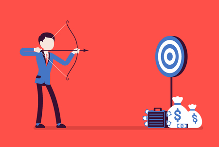 Businessman arching in profit target. Young man with bow, arrow shoots to money aim, intended to achieve great result, financial benefit. Vector business concept illustration with faceless characters