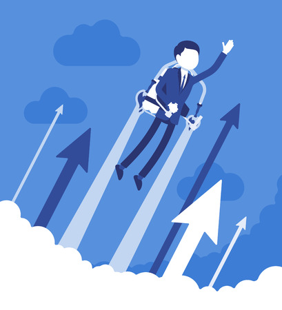 Jetpack businessman flight. Young man with backpack device, got a push into the air to success, flying up to profit, achieving of results. Vector business concept illustration with faceless characters Illustration