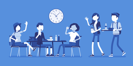 Lunch in dining room. Group of people have their meals and drink at table, meeting friends, students having a break. Vector business concept illustration with faceless characters Illustration