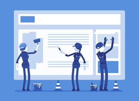 건설중인 웹 사이트. 오류 메시지 연결을 사용하여 웹 사이트를 복구하는 제복을 입은 근로자는 파일을 찾을 수 없습니다. 얼굴이없는 캐릭터가있는