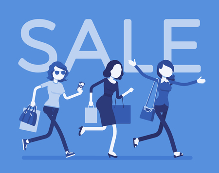 Sale season in the store. Young women running to shop or dealer that sells goods at redu or at lower prices, buyers in a hurry. Illustration