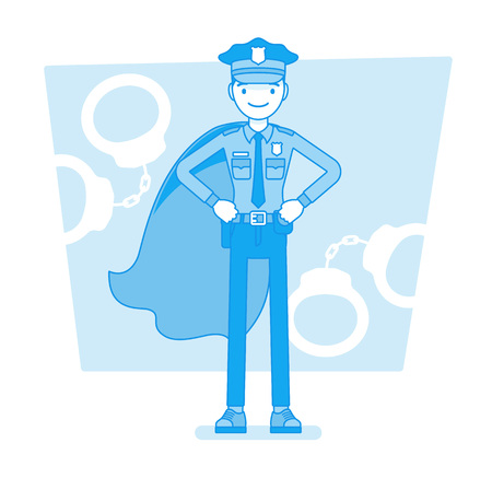 Super policeman at duty. Best trained, qualified officer in uniform and cloak, police superhero with superhuman powers to save city from crime. Vector line art illustration Illustration