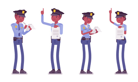 Members of police force prepare paperwork, making record concept illustration.