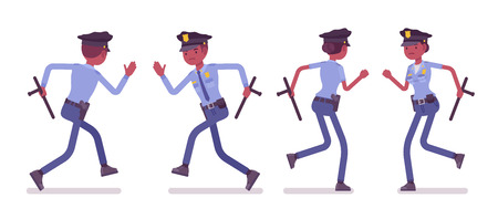 Young black officers running, policeman and policewoman, members of a police force following a criminal. Law and justice concept. Vector flat style cartoon illustration isolated on white background