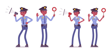 Young black police officers with signals Ilustrace